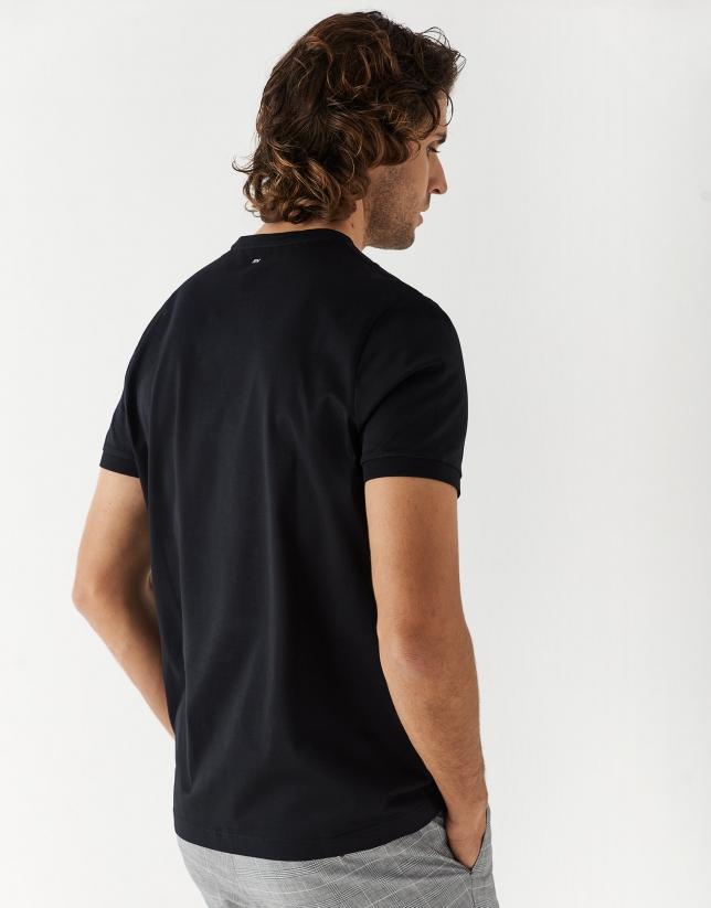 Black double mercerised cotton t-shirt