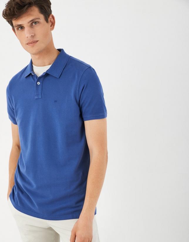 Polo manga corta tintado azul