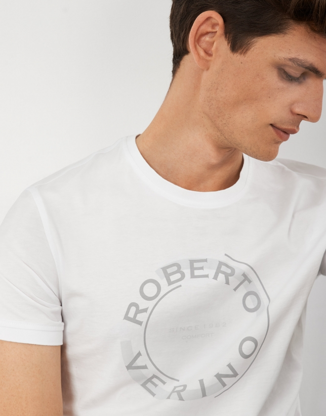 White cotton top with rounded gray logo