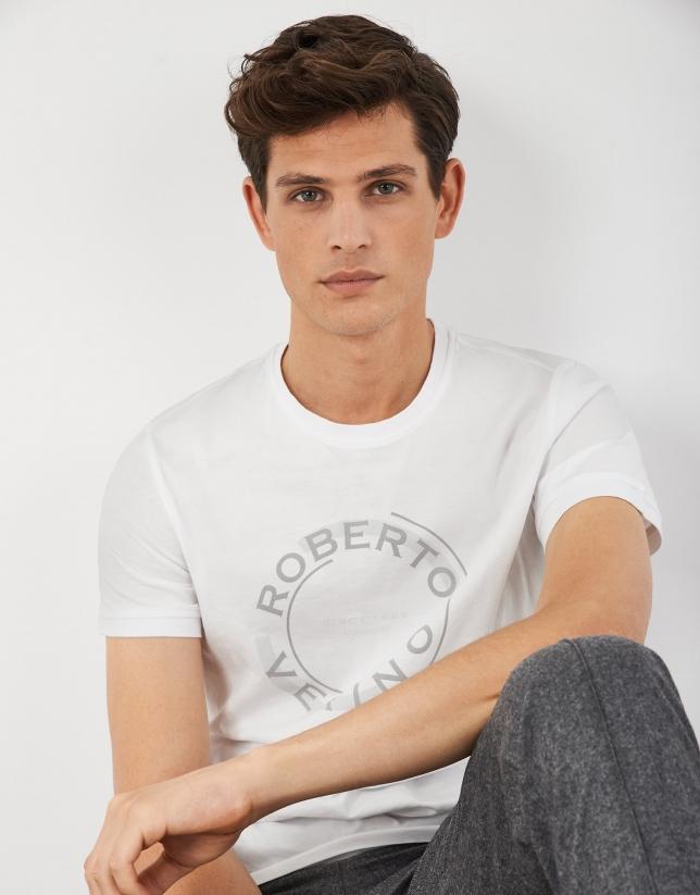 Camiseta blanca logo redondo gris