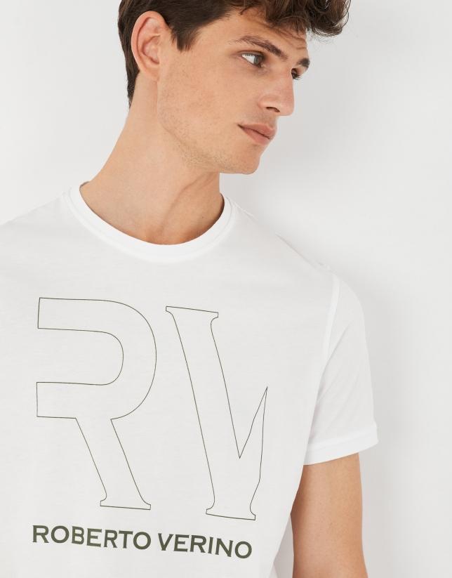 Camiseta blanca logo RV caqui