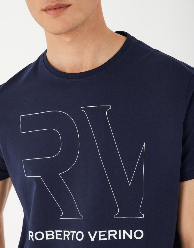 Navy blue top with white RV logo