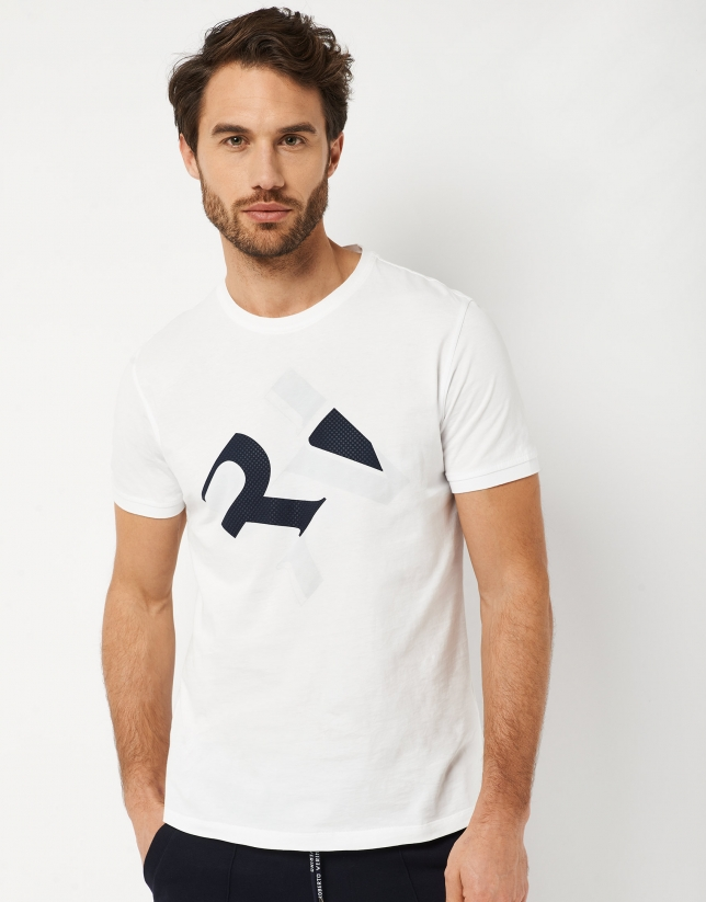 White top with navy blue RV logo