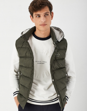Khaki green quilted vest