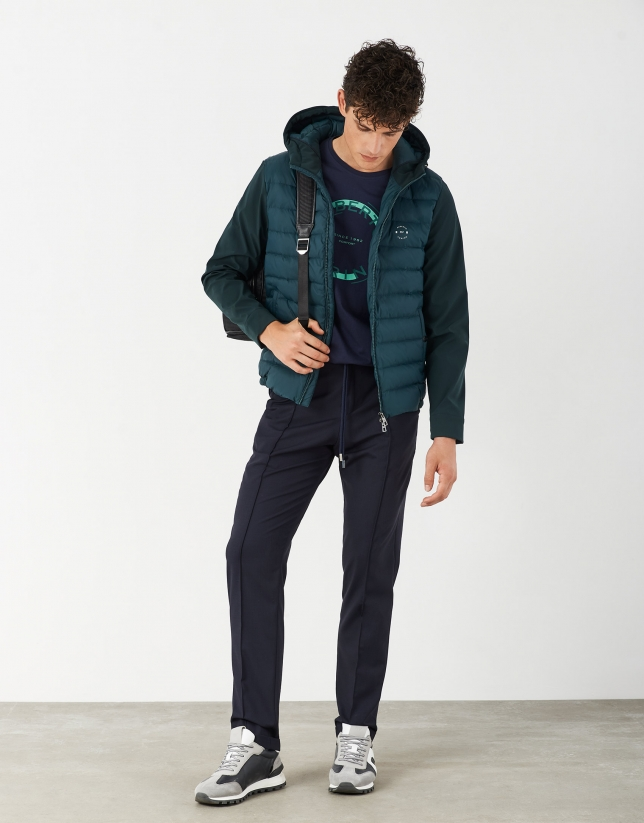 Green tech quilted windbreaker with hood