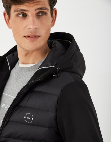 Black tech quilted windbreaker with hood