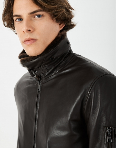 Brown napa aviator-style bomber jacket