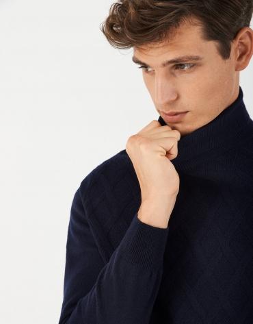 Jersey cuello alto lana/cashemere azul marino
