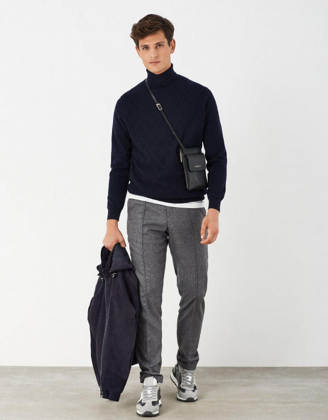 Navy blue melange wool and cashmere turtle neck sweater