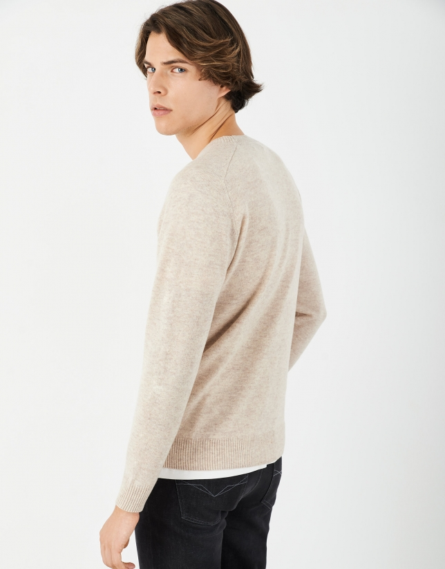 Beige cashmere and wool sweater