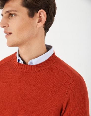 Orange cashmere and wool sweater