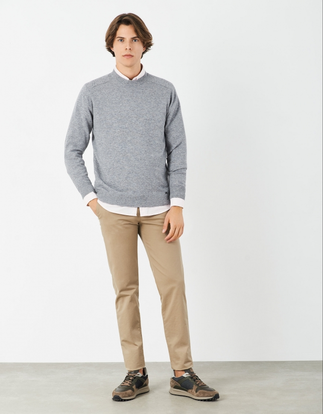 Gray melange cashmere and wool sweater