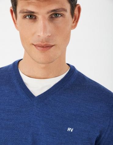 Jersey escote pico azulón