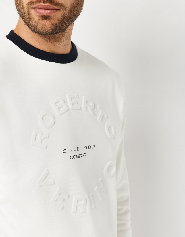 White sweatshirt with embossed logo