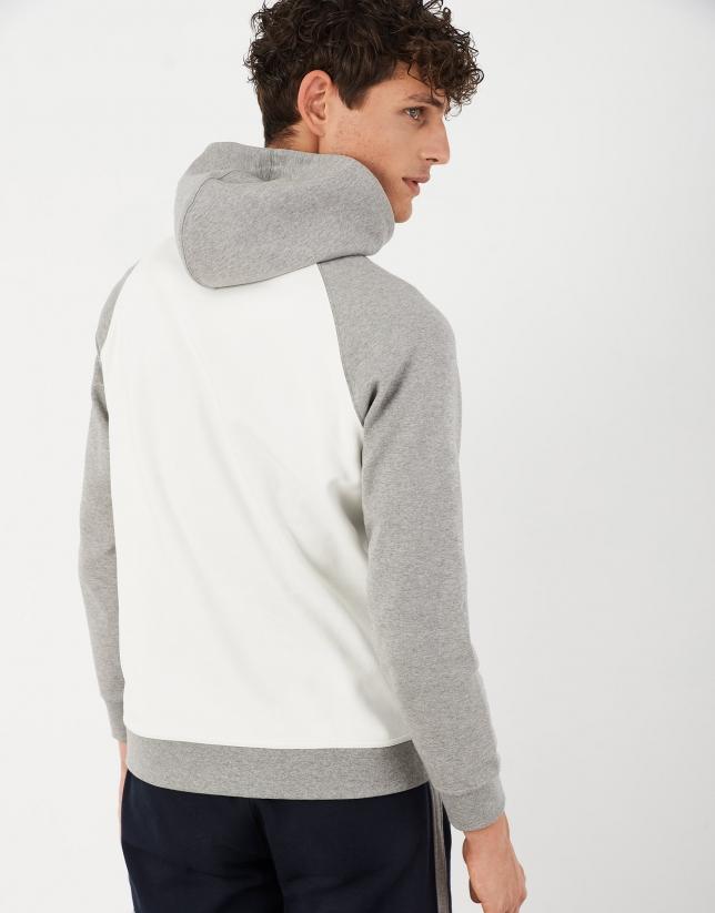 Gray and beige sweatshirt with hood