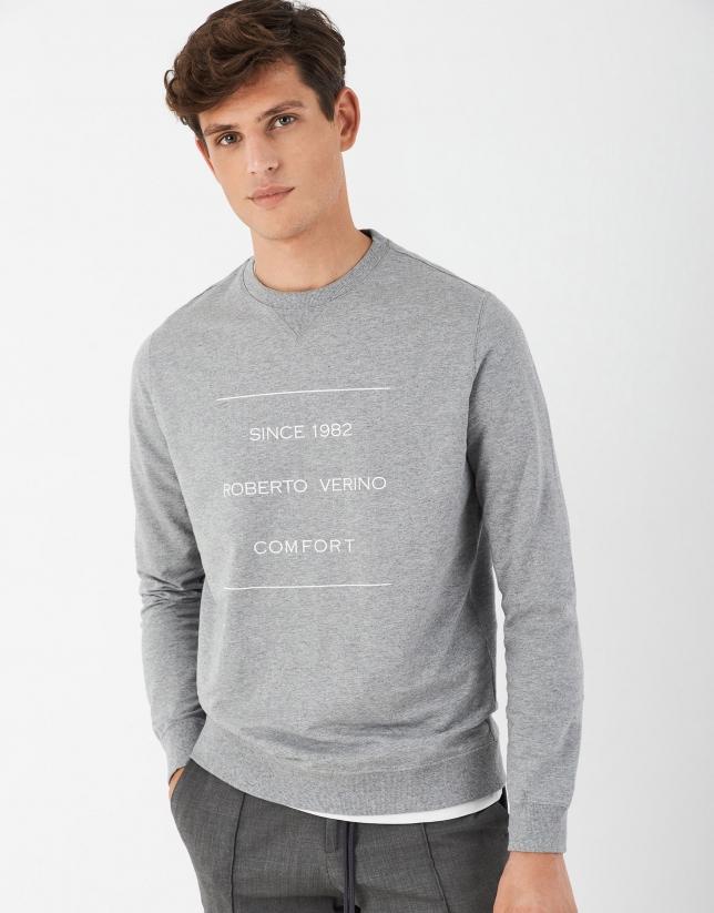 Sudadera fina gris logo contraste