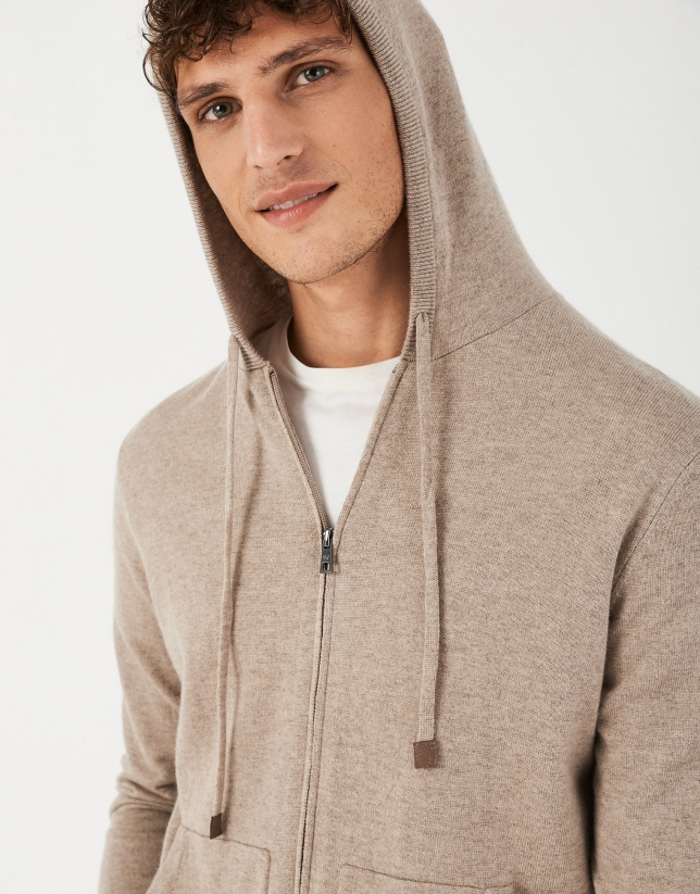 Melange mink-colored knit jacket
