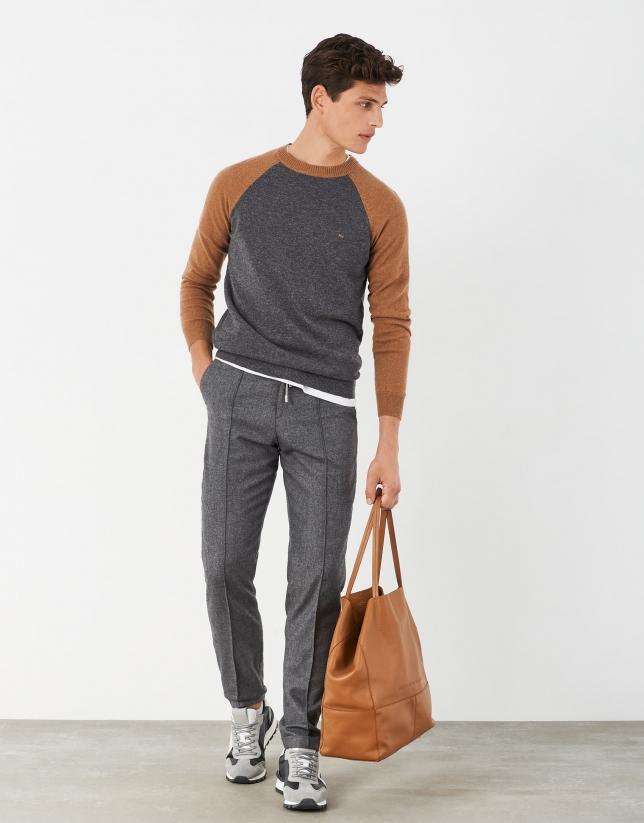 Jersey bicolor gris/cámel