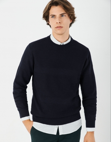 Navy blue sweater with embossed horizontal design