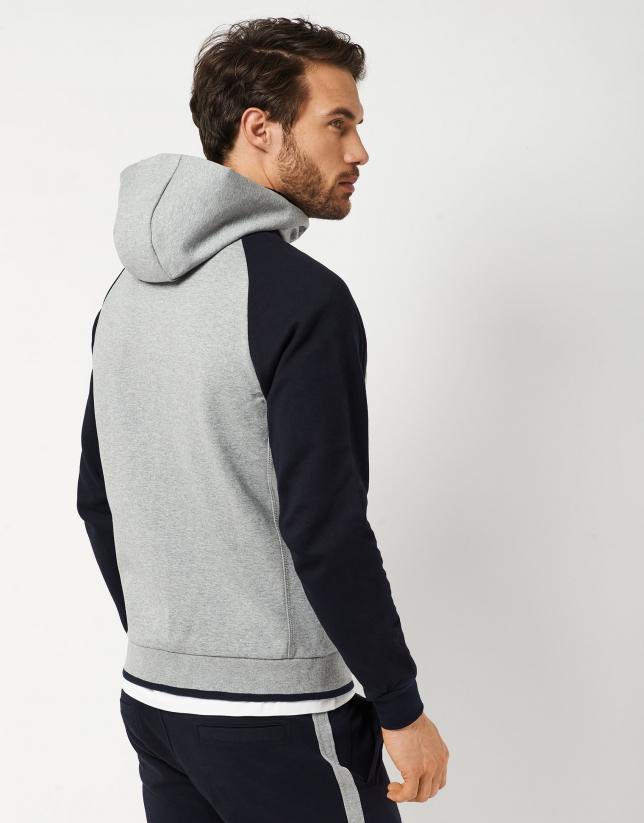 Gray melange and navy blue sweatshirt with hood