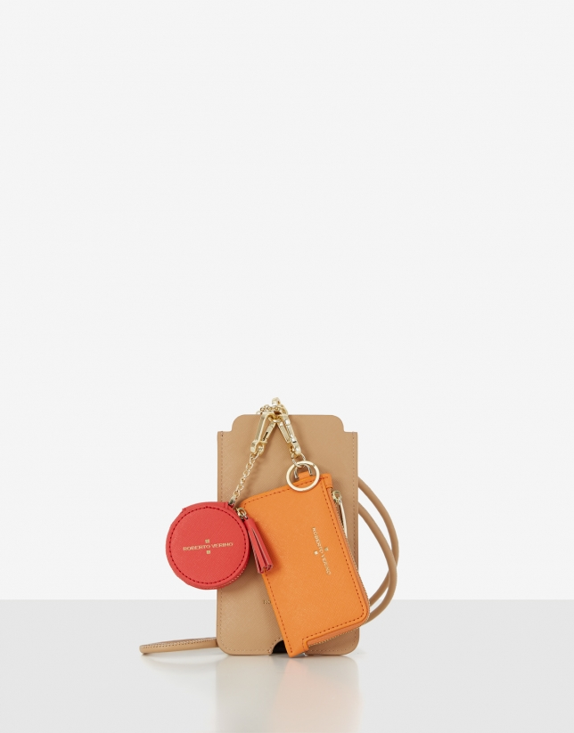 Lúa SET of beige cell case, orange card-holder and red cookie