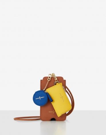 Set Lúa porta móvil marrón, tarjetero amarillo y cookie azul
