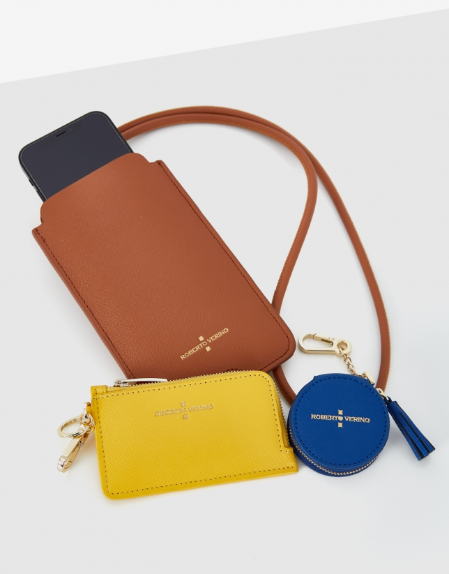 Lúa SET of brown cell case, yellow card-holder and blue cookie
