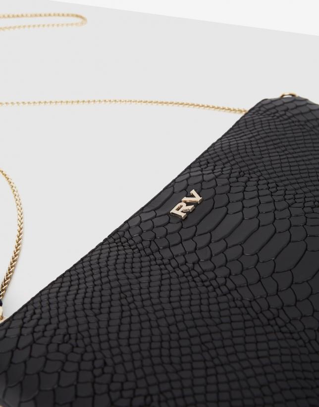 Bolso clutch Lisa piel grabado serpiente