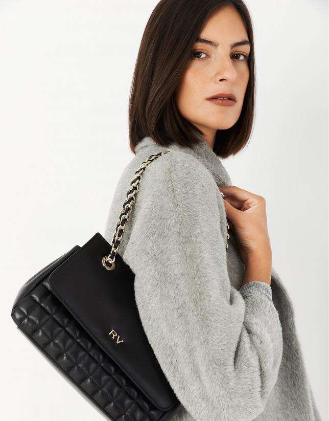Black Ghauri quilted leather shoulder bag