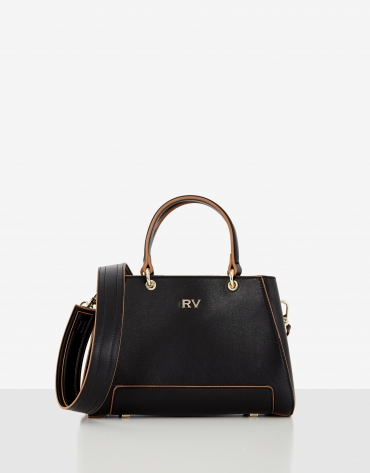 Bolso satchel Mini Amber piel negro