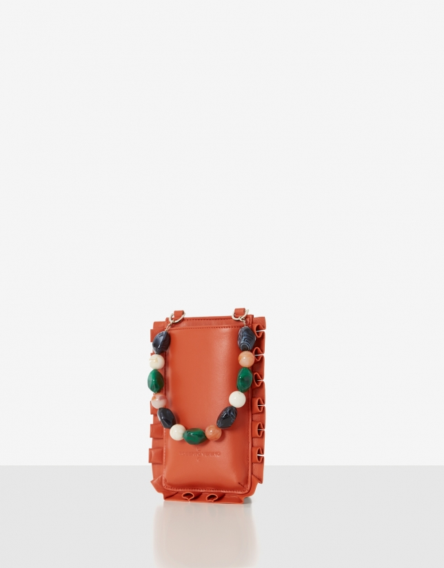 Orange Mini Olas cellphone bag
