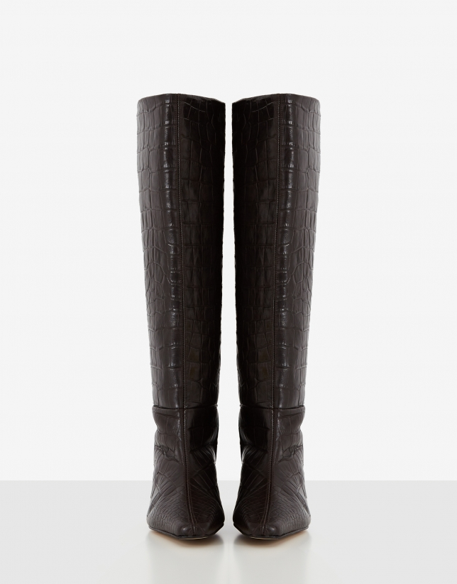 Brown alligator embossed leather high boots