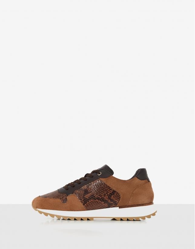 Brown suede snakeskin running shoes