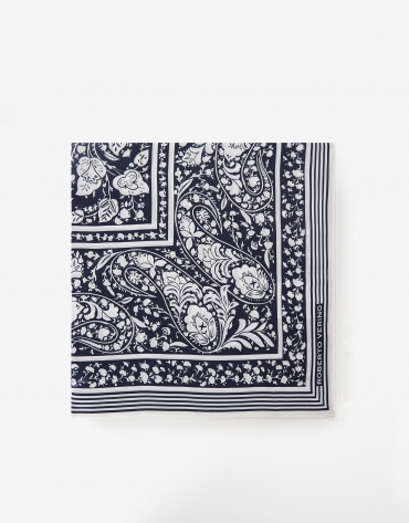 Silk scarf with blue geometric print