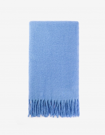 Thick blue fringed scarf