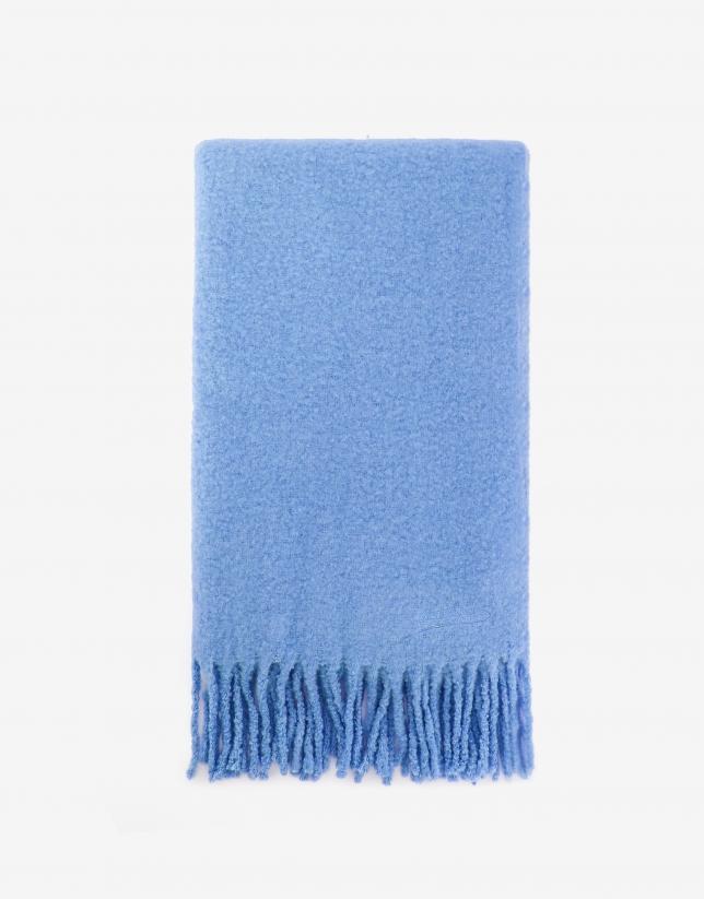 Bufanda gruesa flecos azul