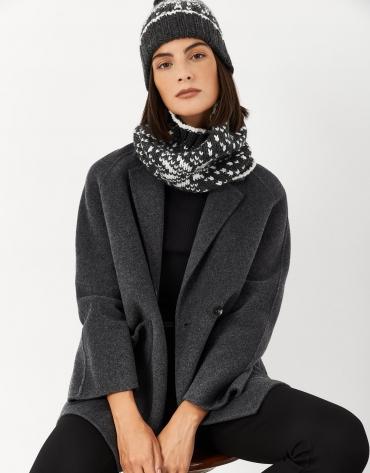 Gray wool alpine scarf collar