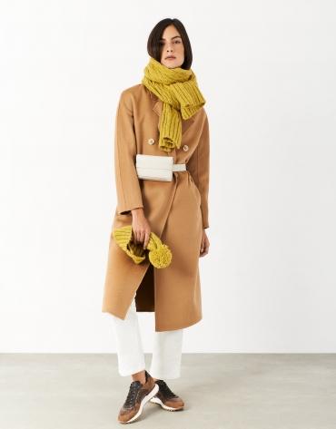 Bufanda lana y alpaca ochos mostaza