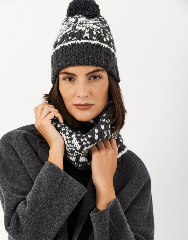 Gray wool alpine cap