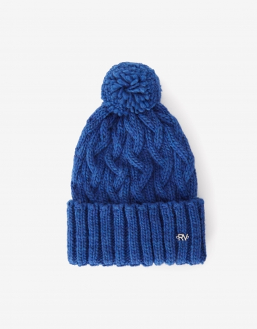Blue wool cap with woven figure eight pattern