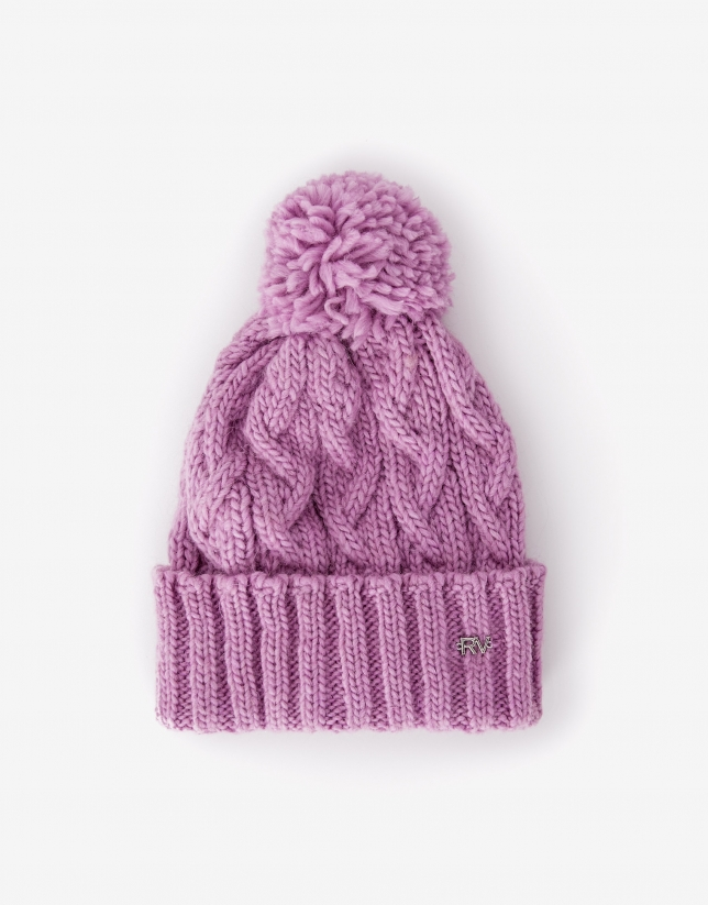 Pink wool cap with woven figure eight pattern