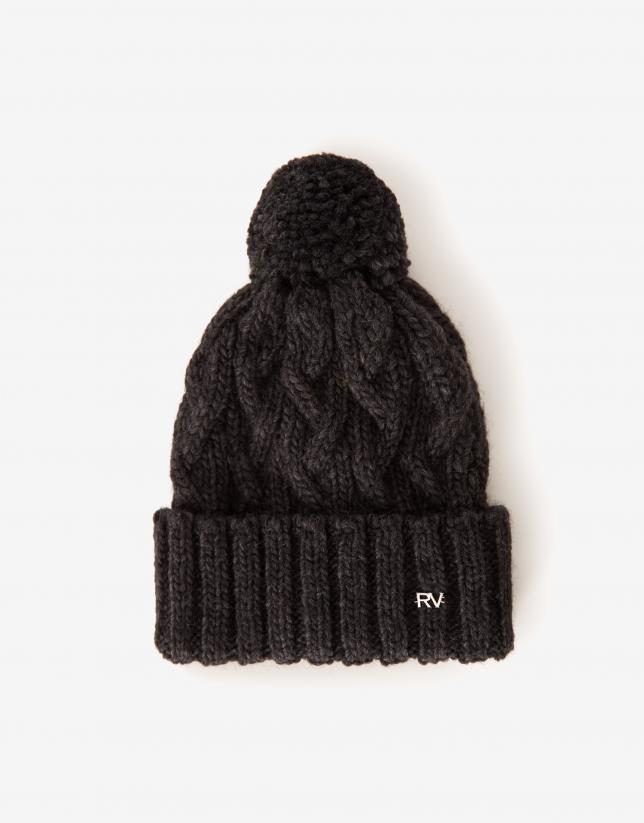Dark gray wool cap with woven figure eight pattern