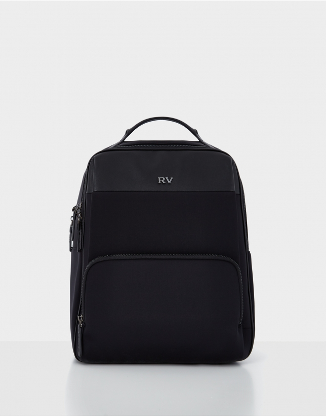 Neox black leather and neoprene backpack