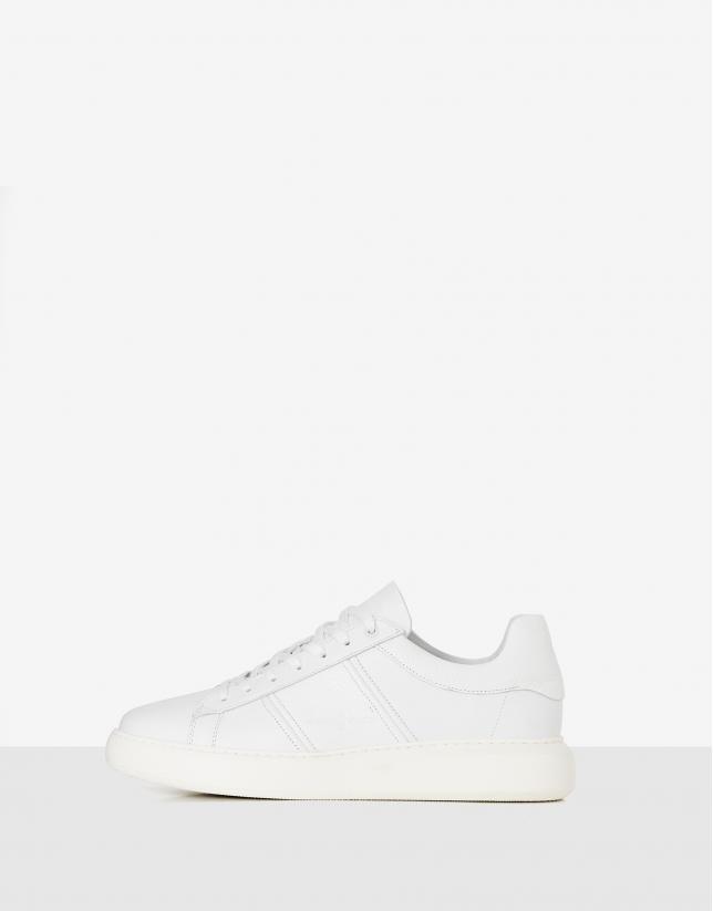 Zapatilla deportiva piel combinada blanca