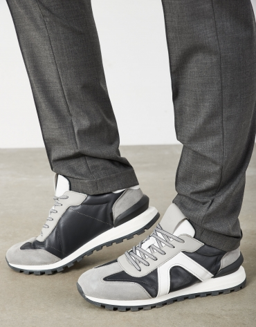 Gray leather running shoes