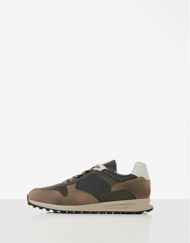 Khaki leather running shoes