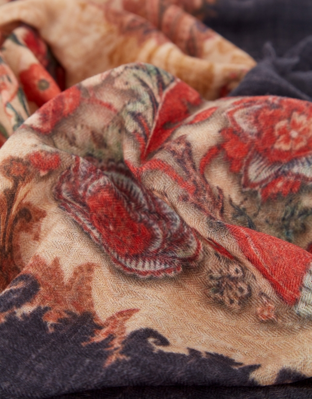 Foulard with an aged-look floral print design