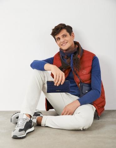 Khaki, orange and blue checked scarf