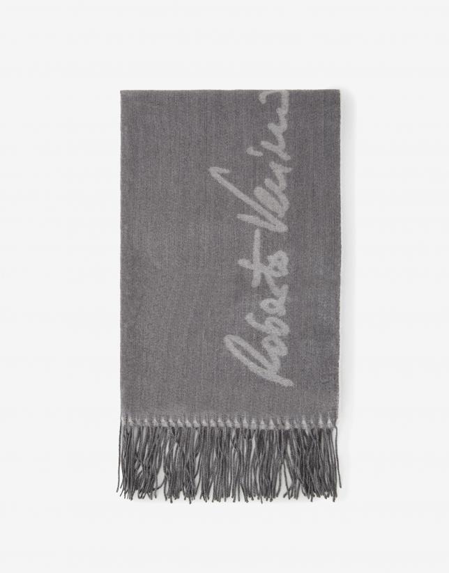 Bufanda lana logos tonos grises