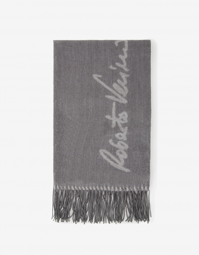 Gray wool scarf with logos